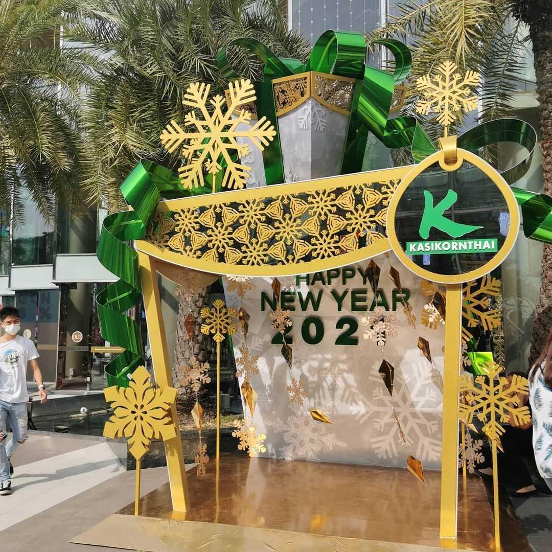 Kerstversiering bij Siam Paragon in Bangkok tijdens de kerstdagen van 2020