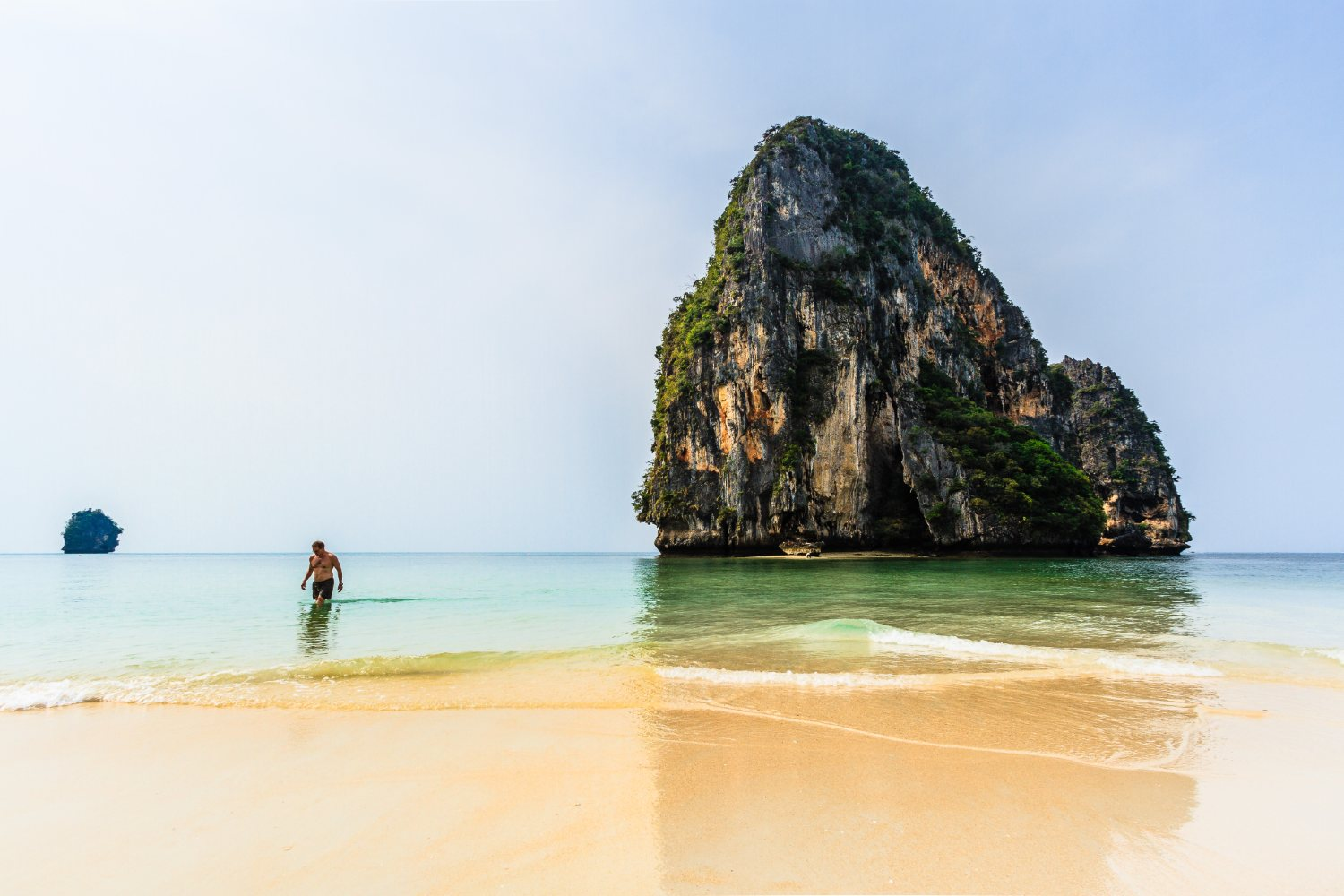 The beach of Phra Nang in Railay with the famous rock