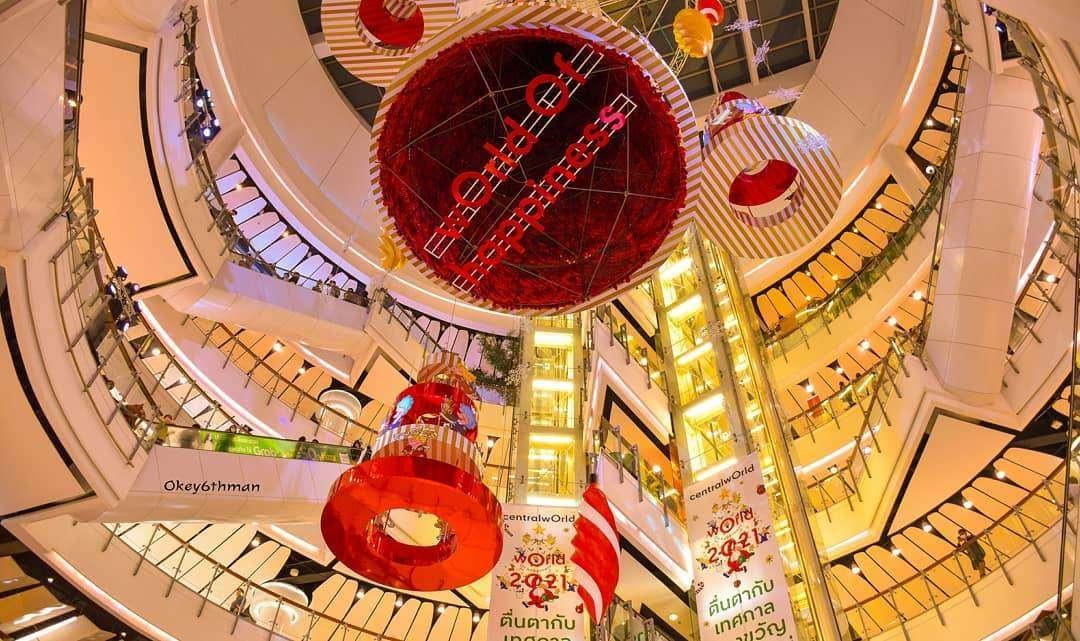 Kerstversiering bij Central World in Bangkok tijdens de kerstdagen van 2020
