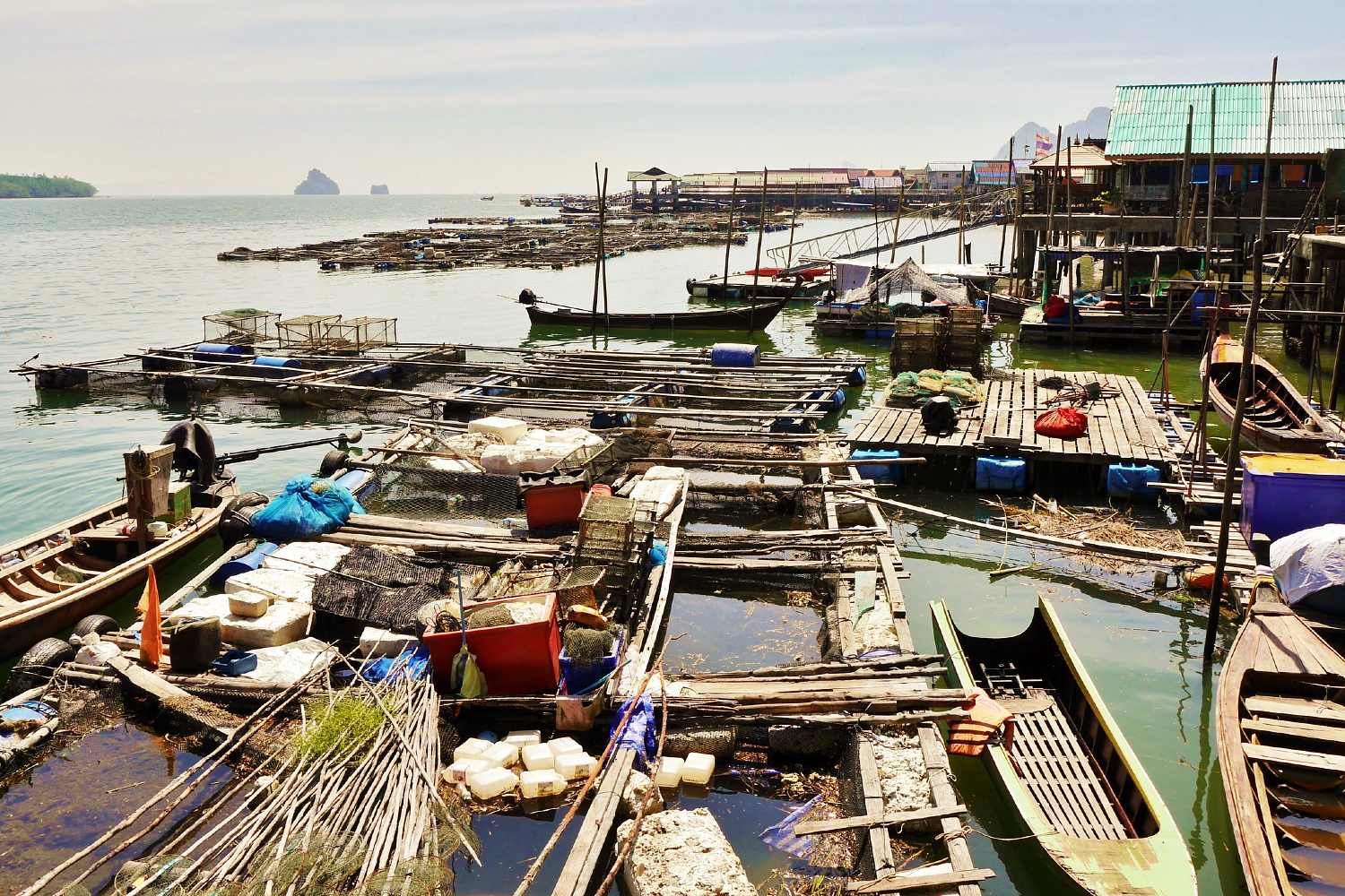 Boats and fish farm at Koh Panyi Island