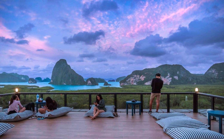 Platform with pillows and views of Phang Nga Bay