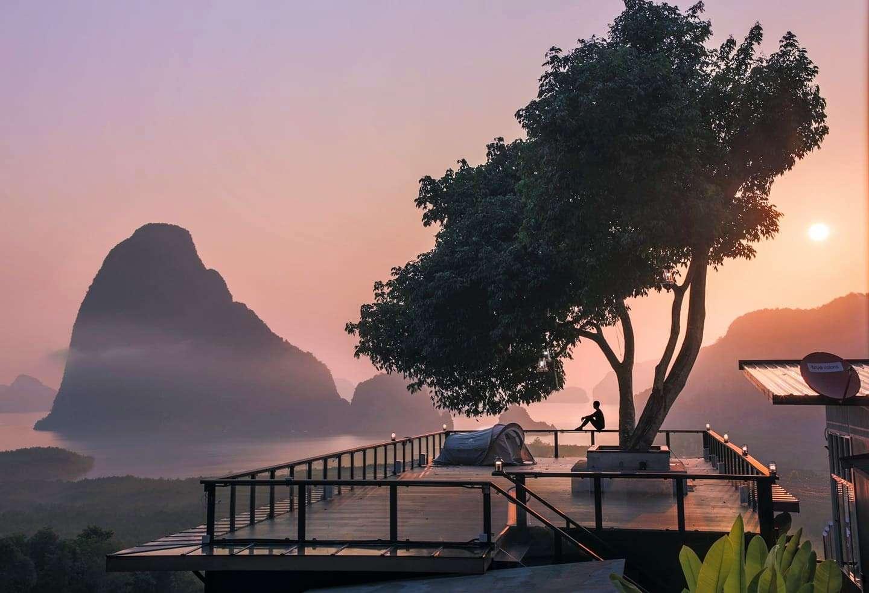 Platform with tents and views of Phang Nga Bay