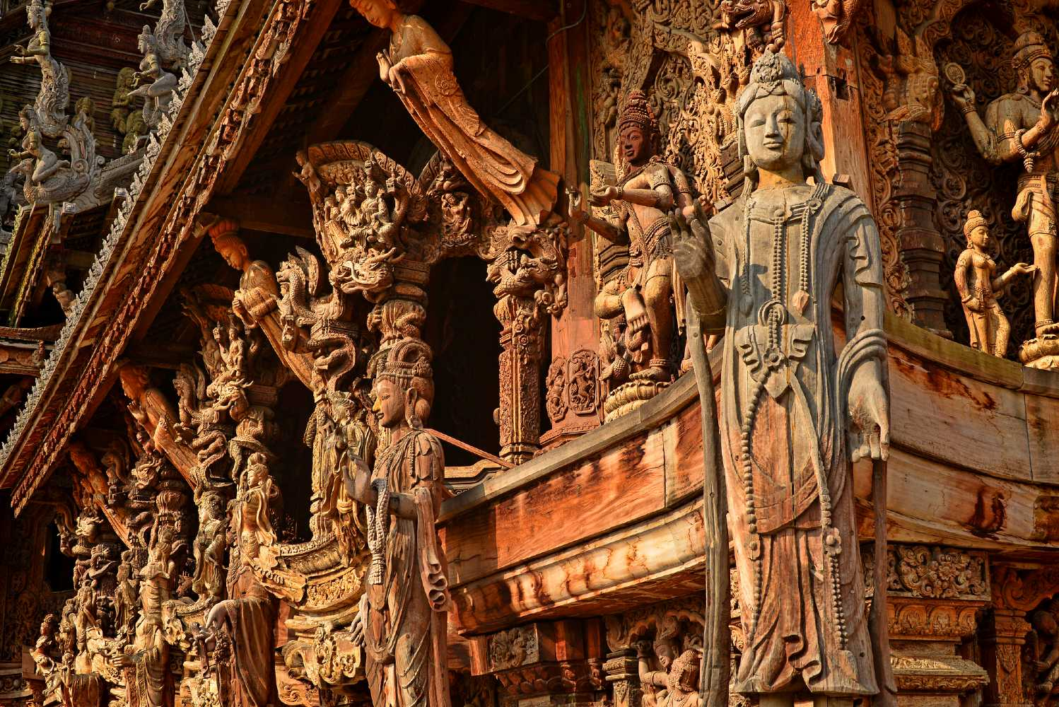 Small details in the wood and Buddhas of The Sanctuary Of Truth Pattaya