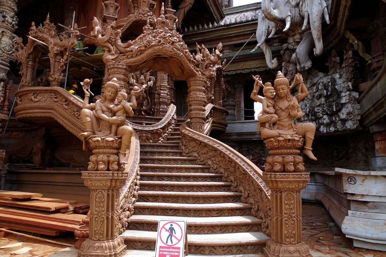 Wooden stairs to the top of The Sanctuary Of Truth in Pattaya