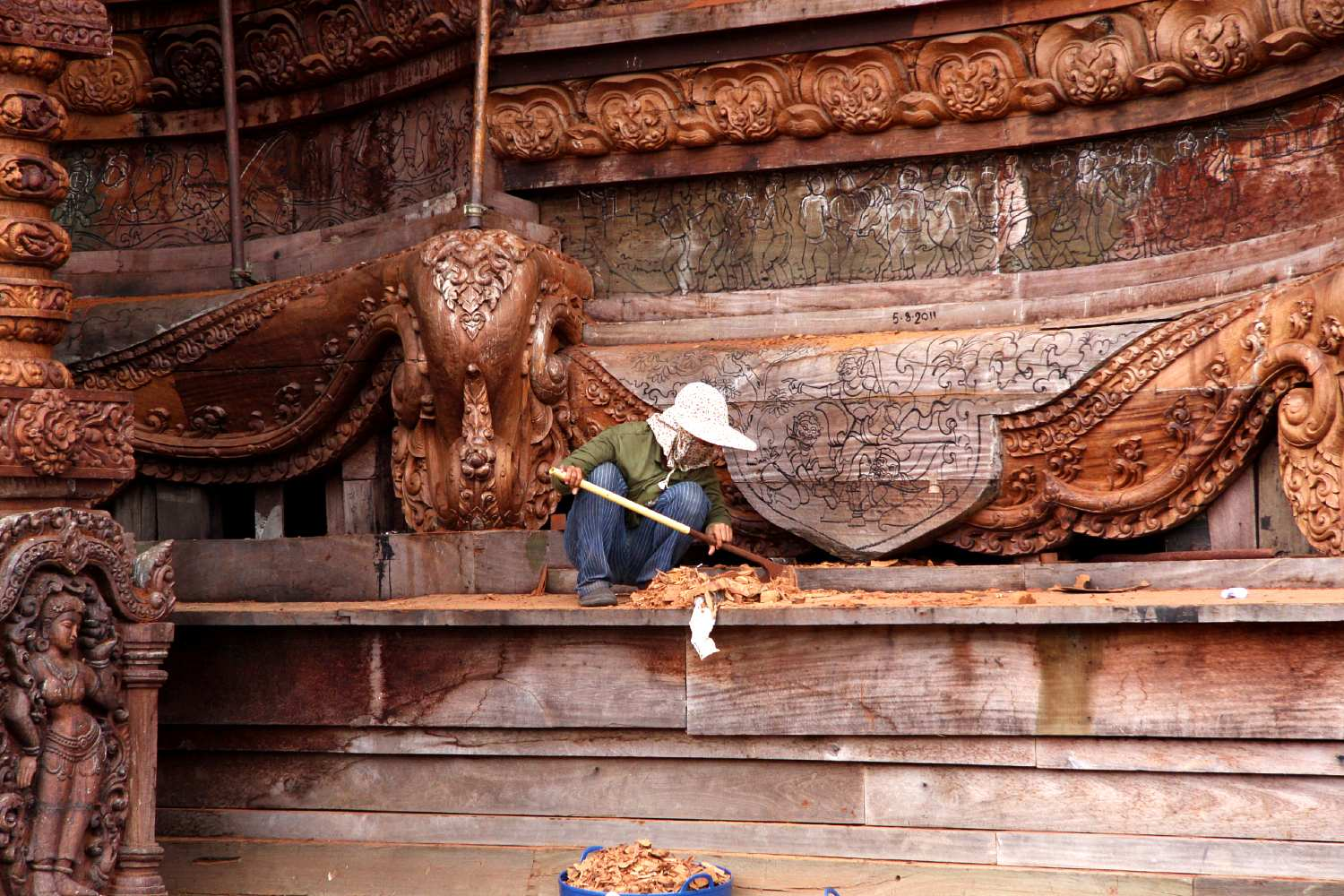 Woodworker at work in The Sanctuary Of Truth Pattaya