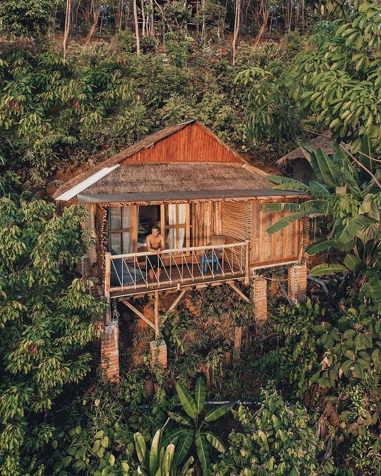 Luxury bungalow on stilts with balcony