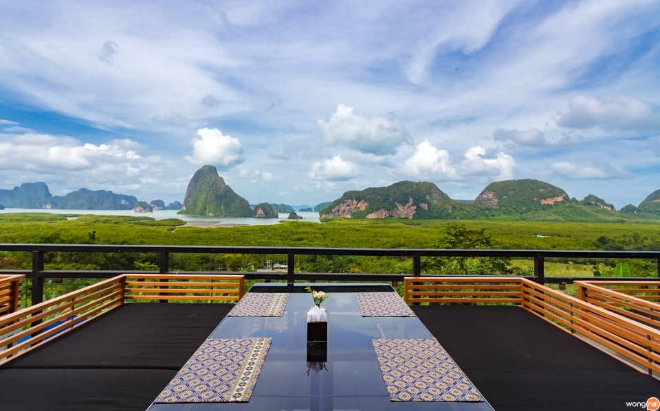 View on Phang Nga Bay from hotel and restaurant