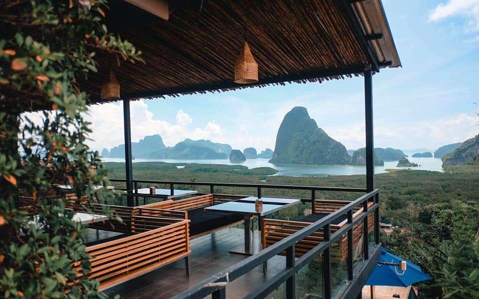 lounge sofas overlooking Phang Nga Bay