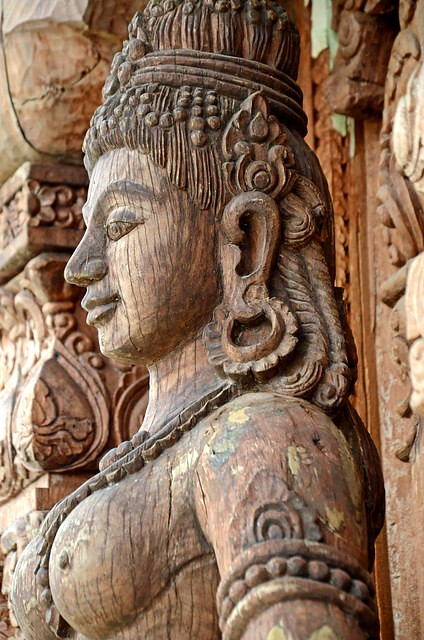wooden female statue in The Sanctuary Of Truth, Pattaya