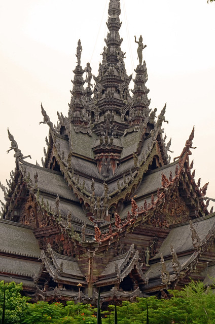 The outside of The Sanctuary of Truth in Pattaya