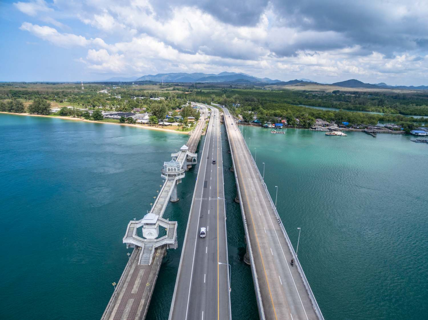 The Sarasin Bridge with the Phang Nga province on the other side, the mainland of Thailand