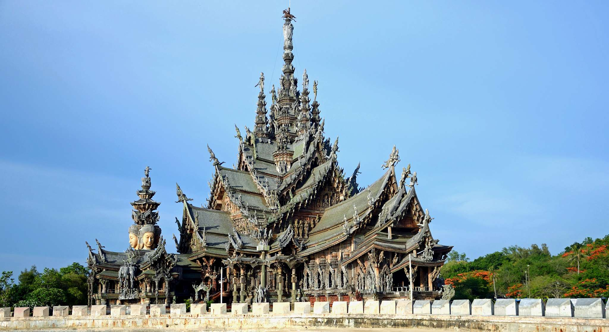 wooden temple, Sanctuary Of Truth Pattaya from a distance