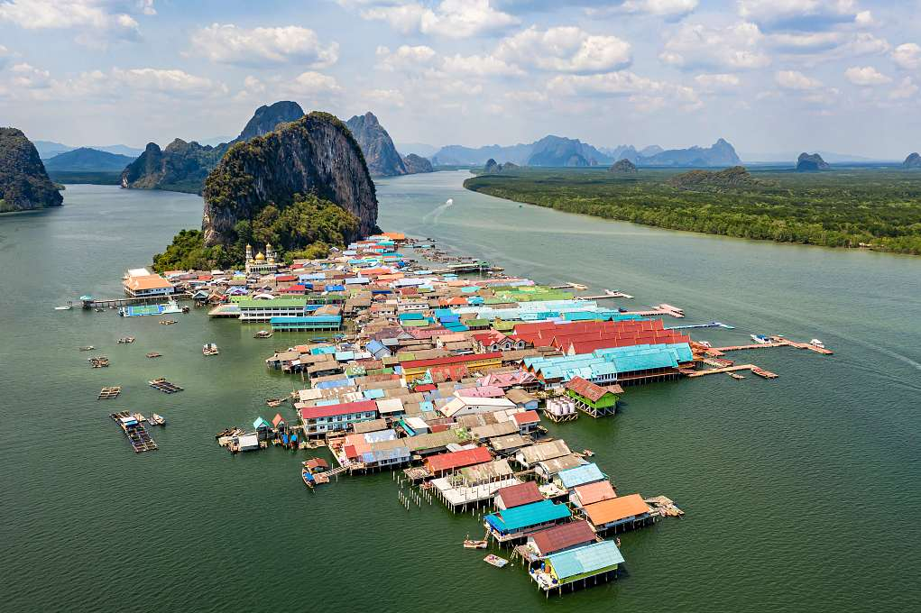 Muslim Village Koh Panyee, village on poles in the sea seen from above