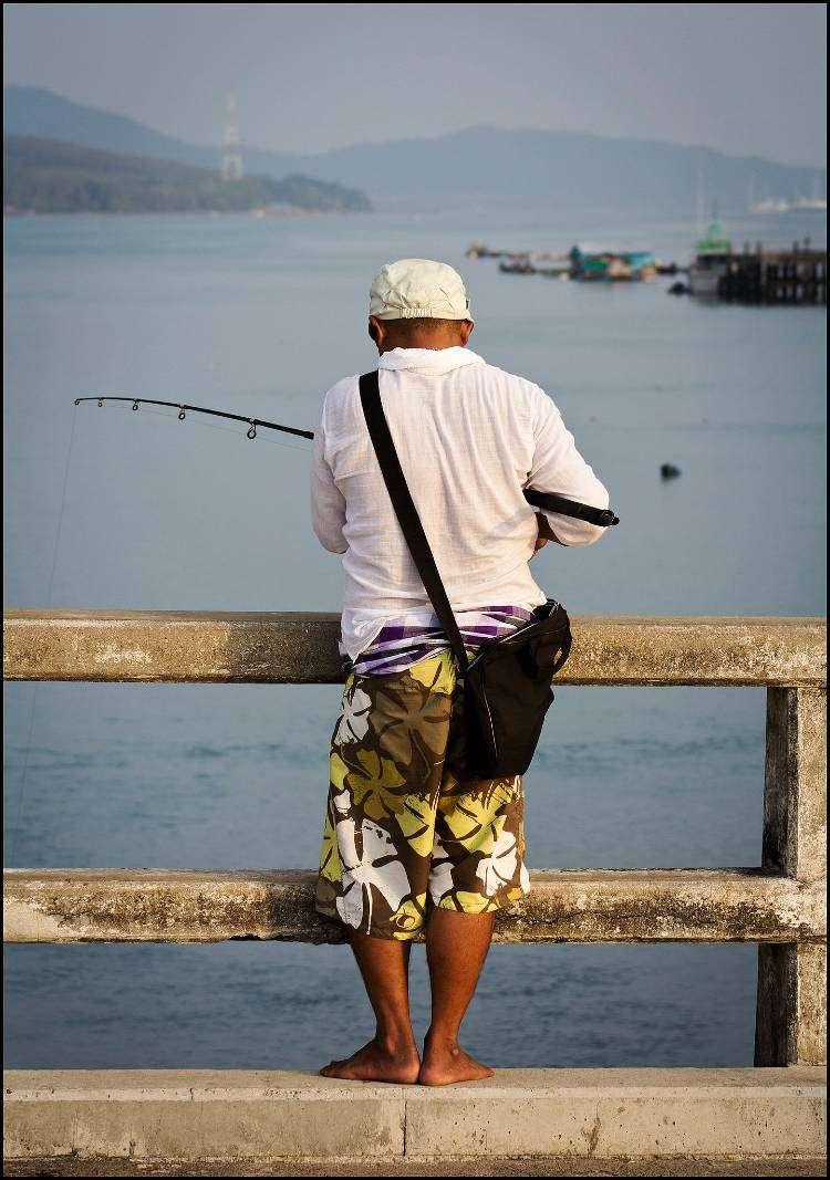 Someone fishing from the Sarasin Bridge
