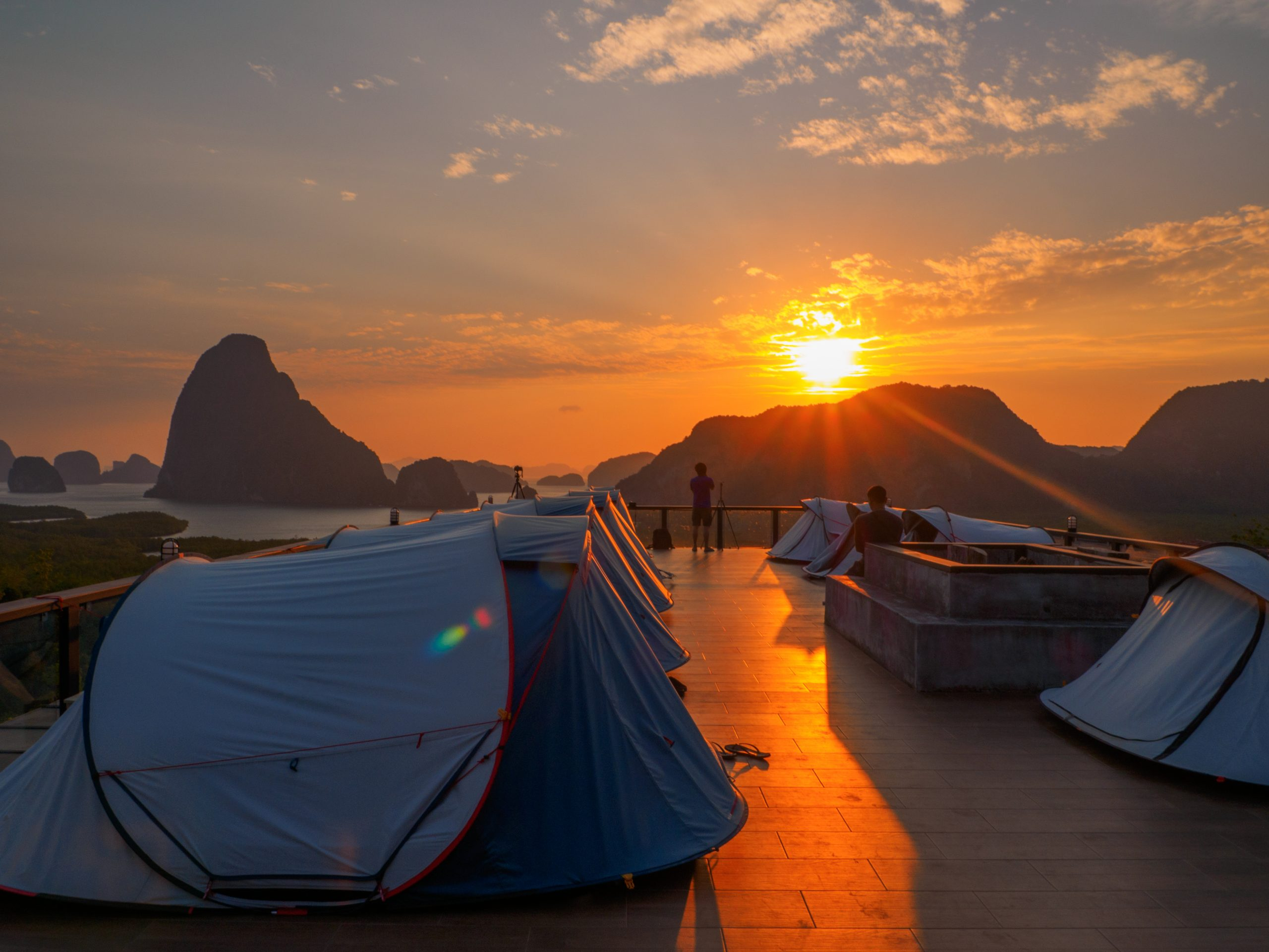 Sleeping in a tent at viewpoint Phang Nga