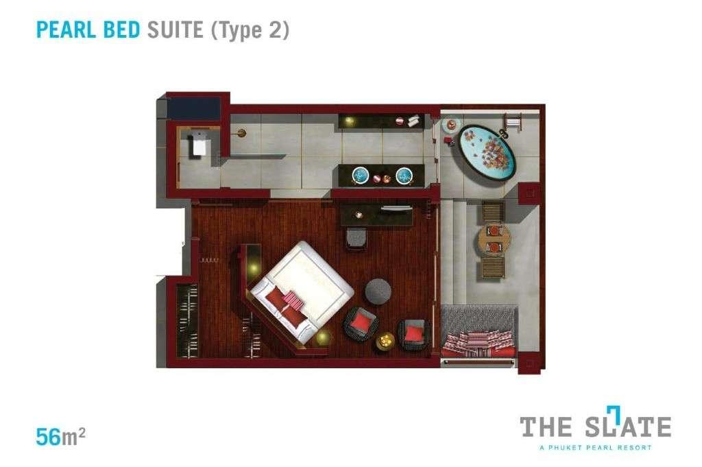 Kleinste kamer (Pearl Bed Suite) van The Slate Phuket. een prachtig resort aan Nai Yang Beach op Phuket
