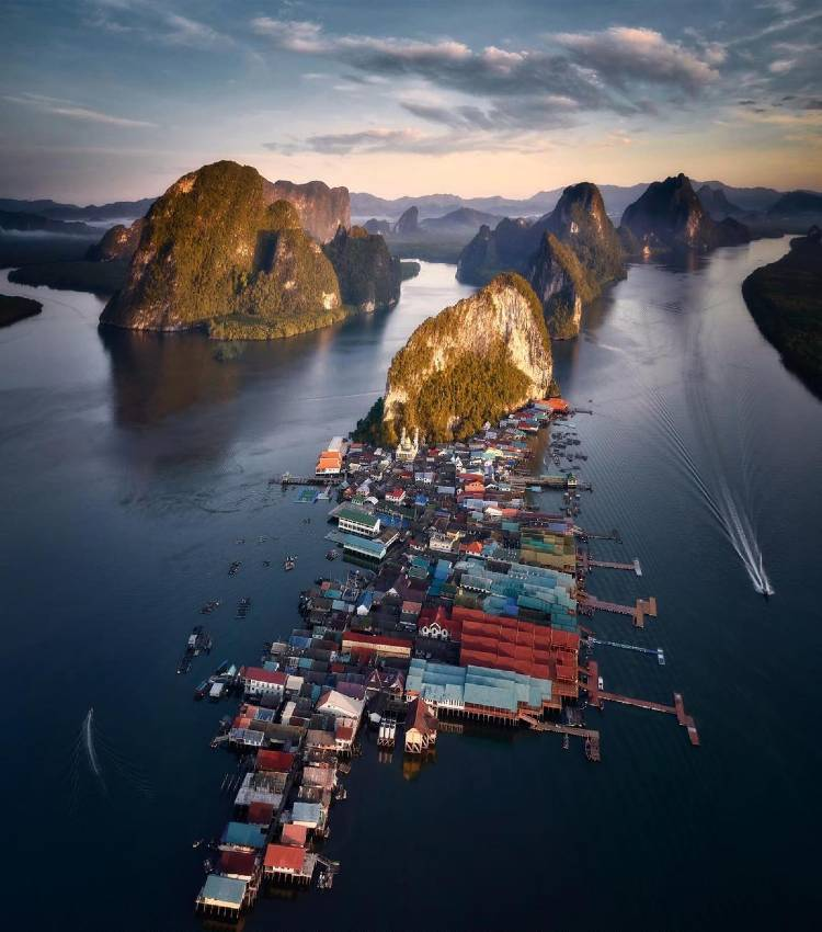Koh Panyee in Phang Nga Bay seen with a drone