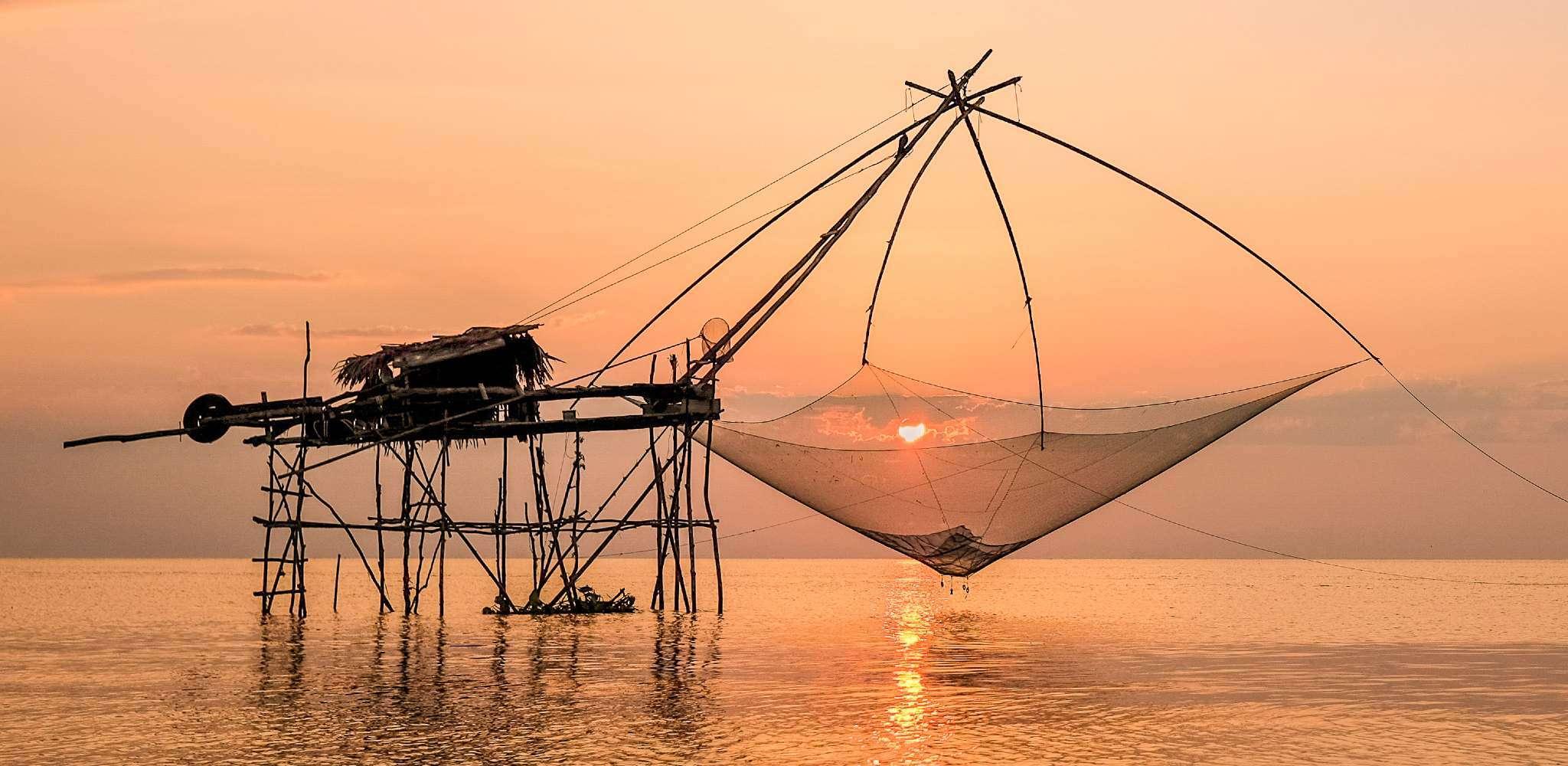 Yor (oude manier van vissen) in Phattalung