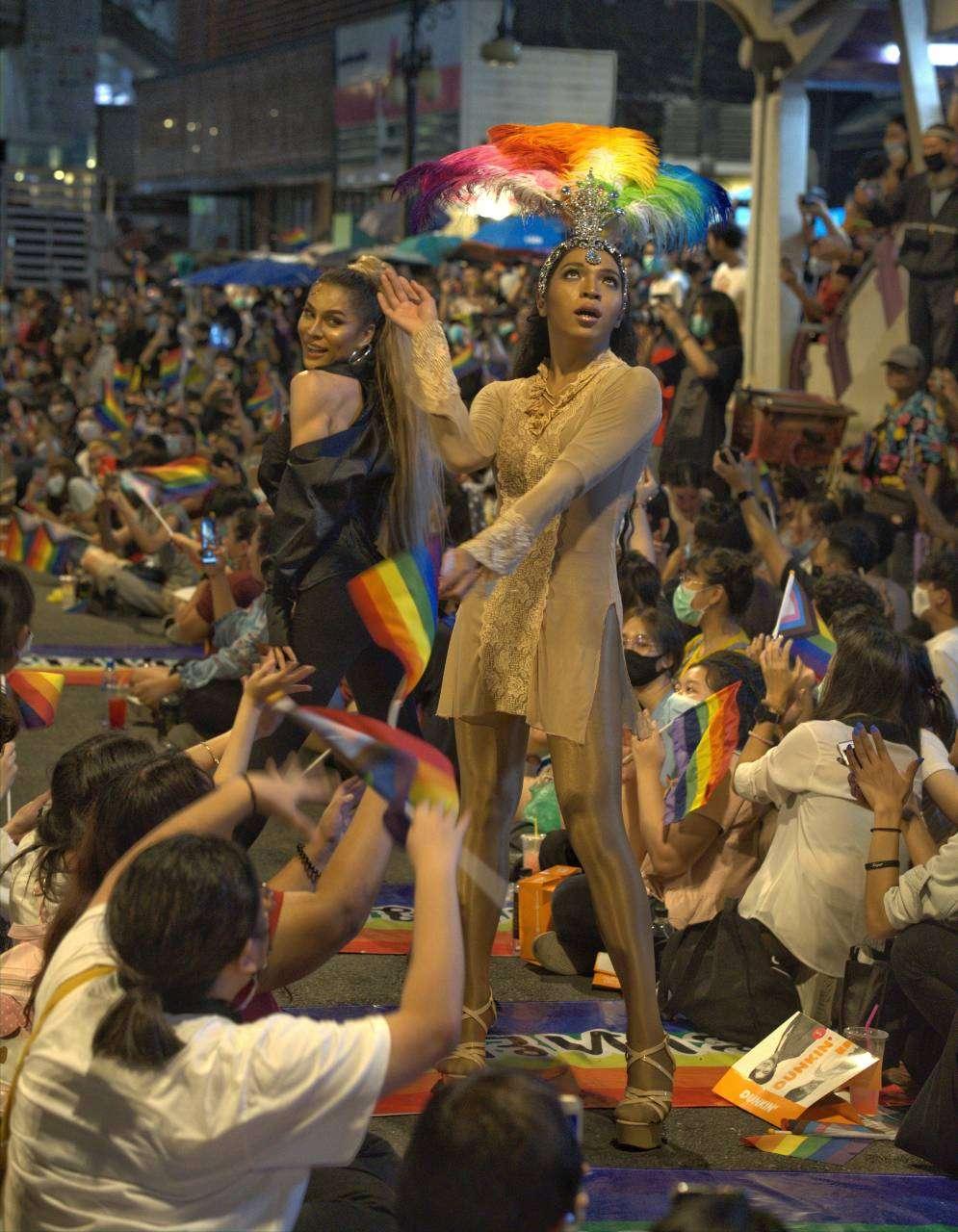 LGBT gemeenschap in Bangkok tijdens een protestactie