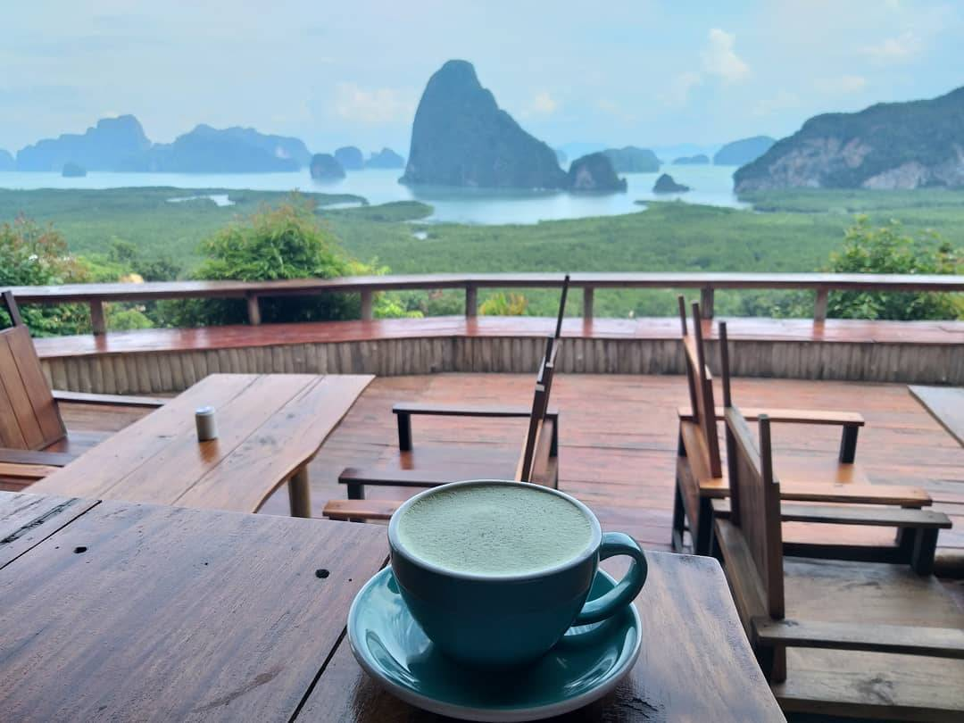 Cup of coffee at Samet Nangshe Viewpoint in Thailand
