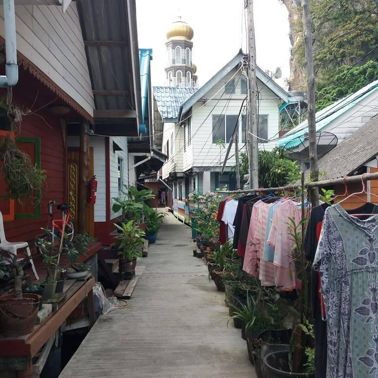 Street on the floating Muslim island Koh Panyee in the bay of Phang Nga, Thailand