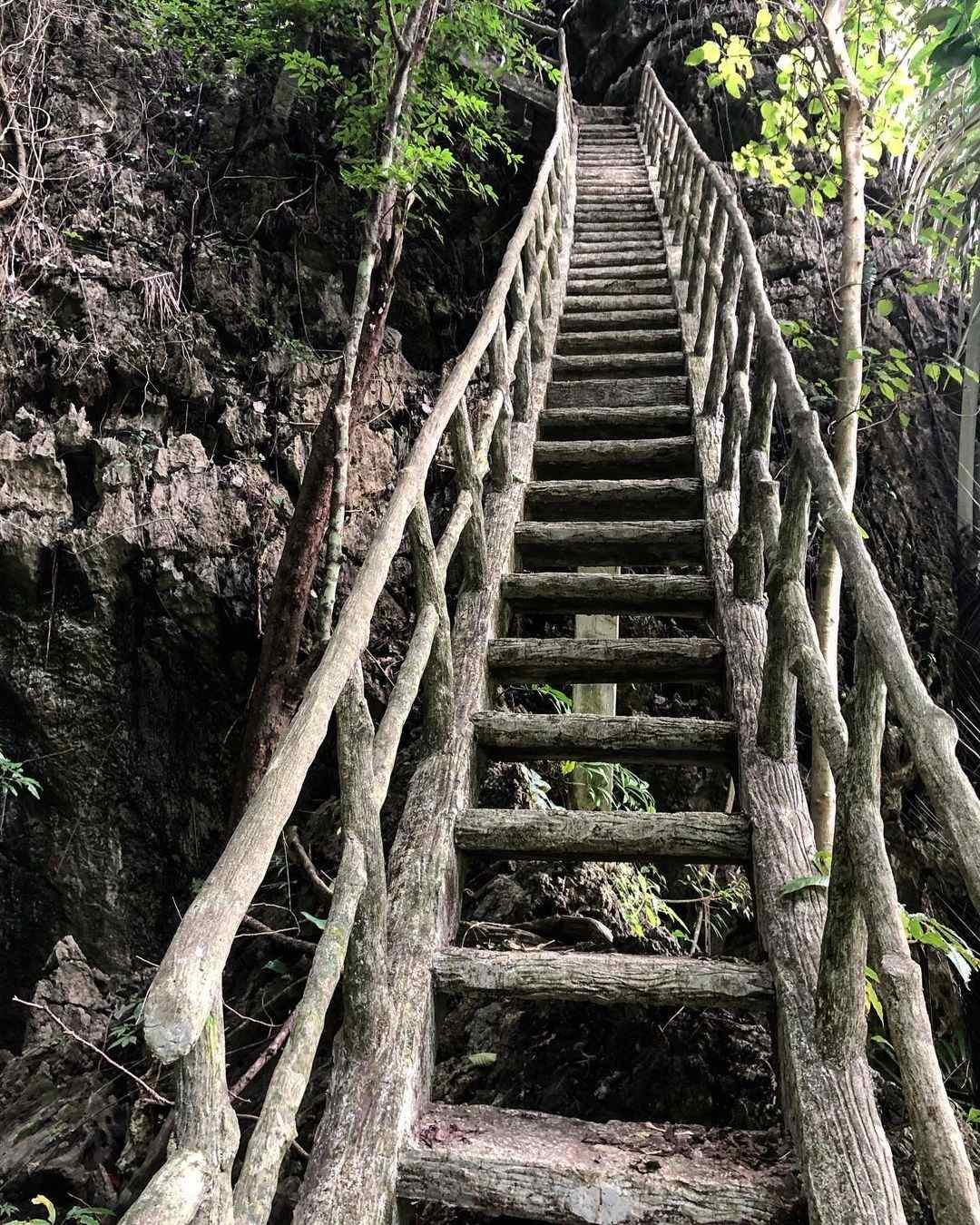 Stairs to the top of the Wat Than Ta Pan (the hell of Thailand) in Phang Nga