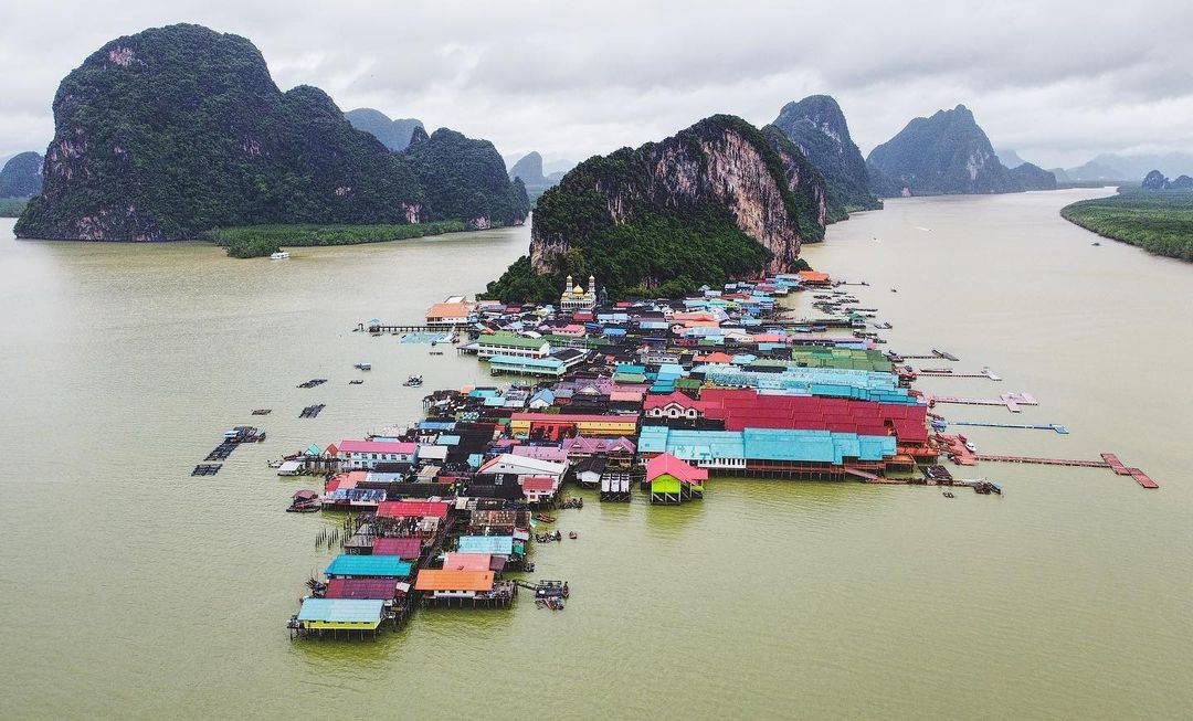 Koh Panyee seen with a drone