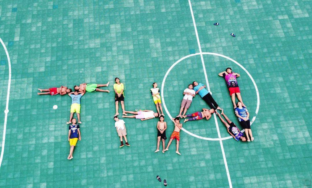FC Panyee forming Thai on their soccer field on the floating island of Koh Panyee in Thailand
