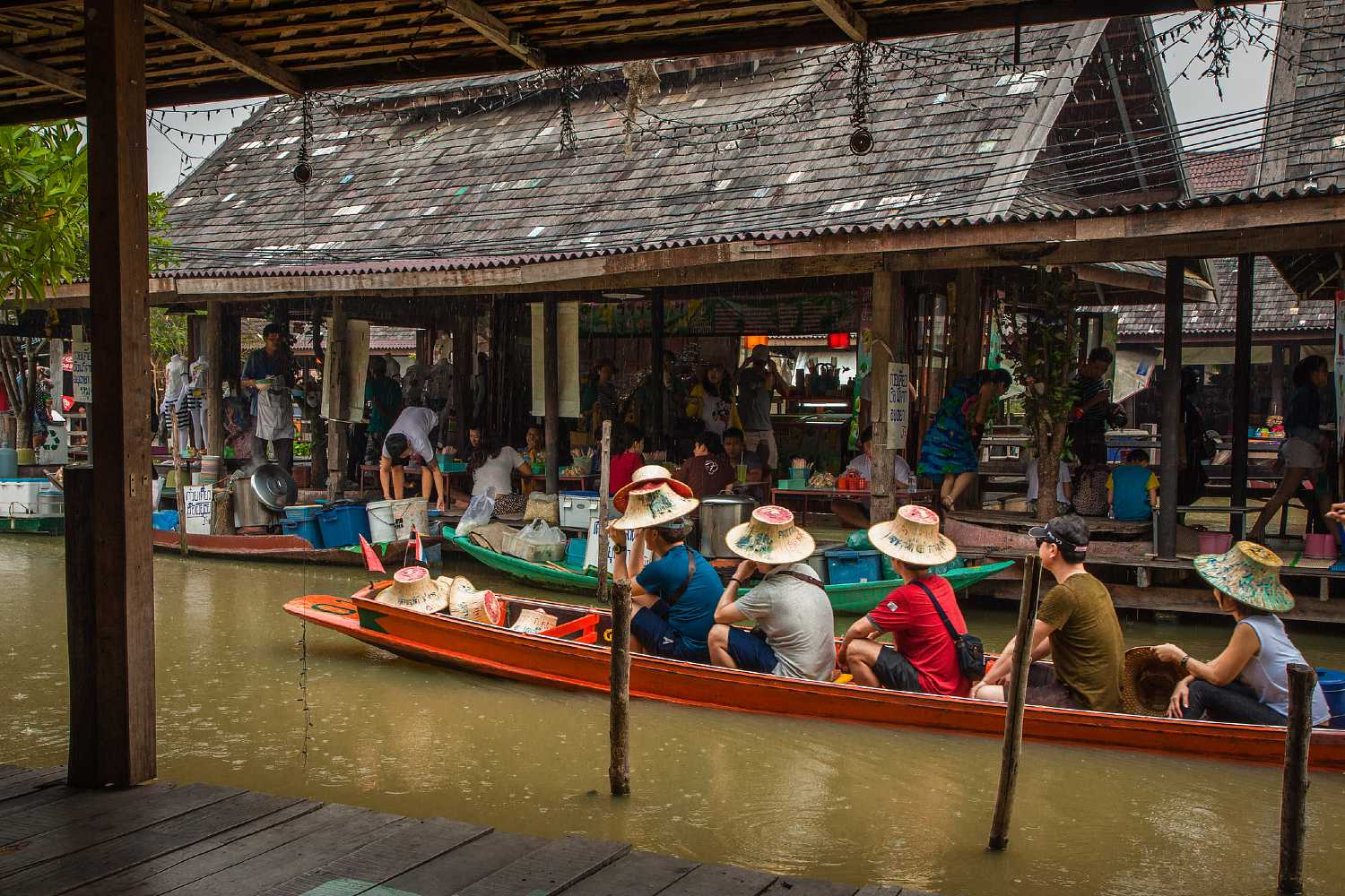 boat with people at floating market in Pattaya