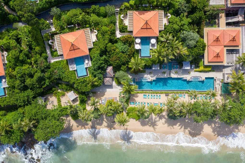 Aerial view of a few pool villas of Trisara in Phuket