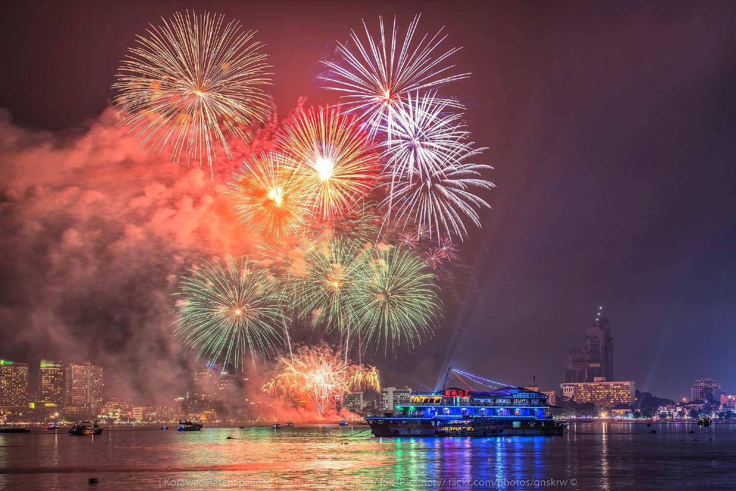 Fireworks in the sky of Pattaya
