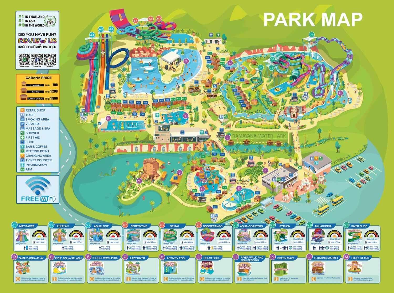 Map of Ramayana Water Park in Pattaya, Thailand