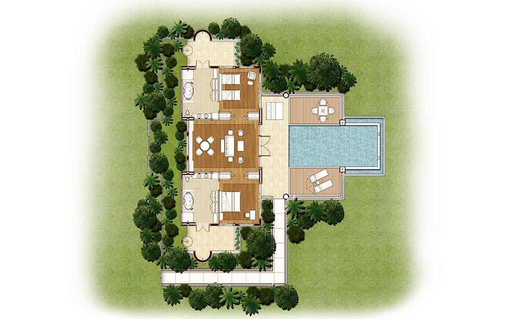 Floor Plan of the Signature Pool Suite with Ocean View of the Trisara on Phuket, Thailand