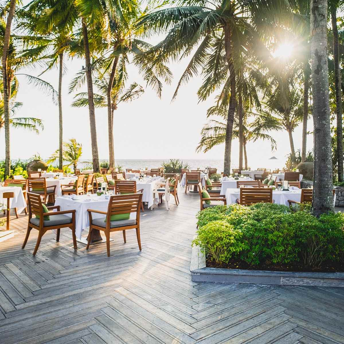 Dining at The Deck at the Trisara Resort on Phuket, Thailand
