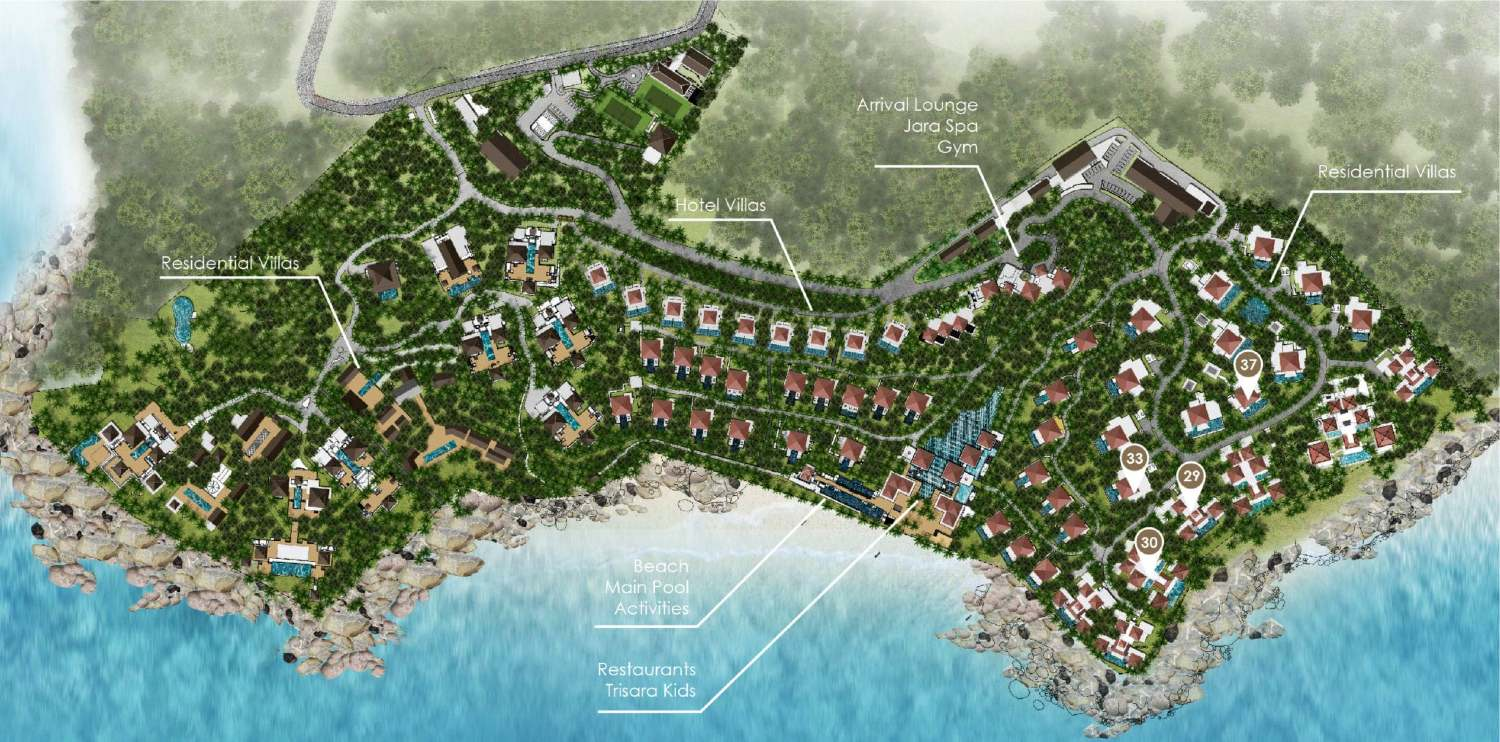 The map of the Trisara area on Phuket, Thailand