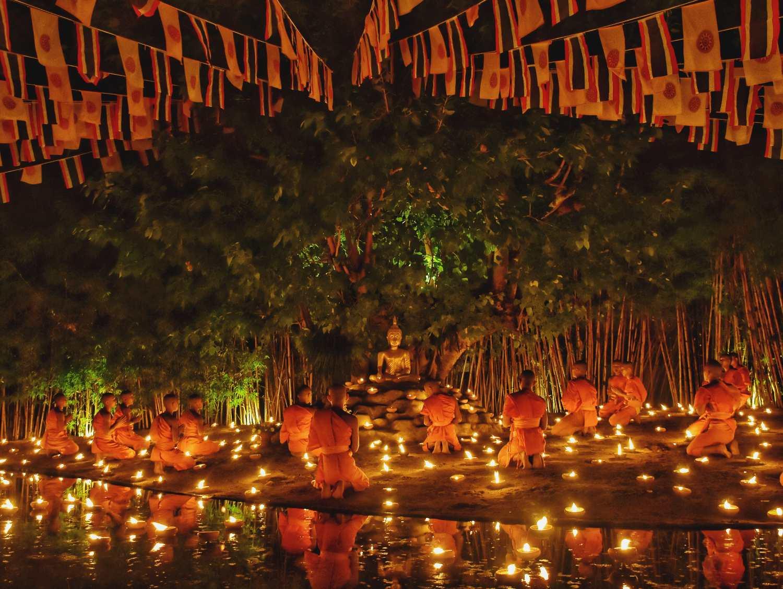 De Wat Pan Toa in Chiang Mai tijdens een Boeddhistisch festival