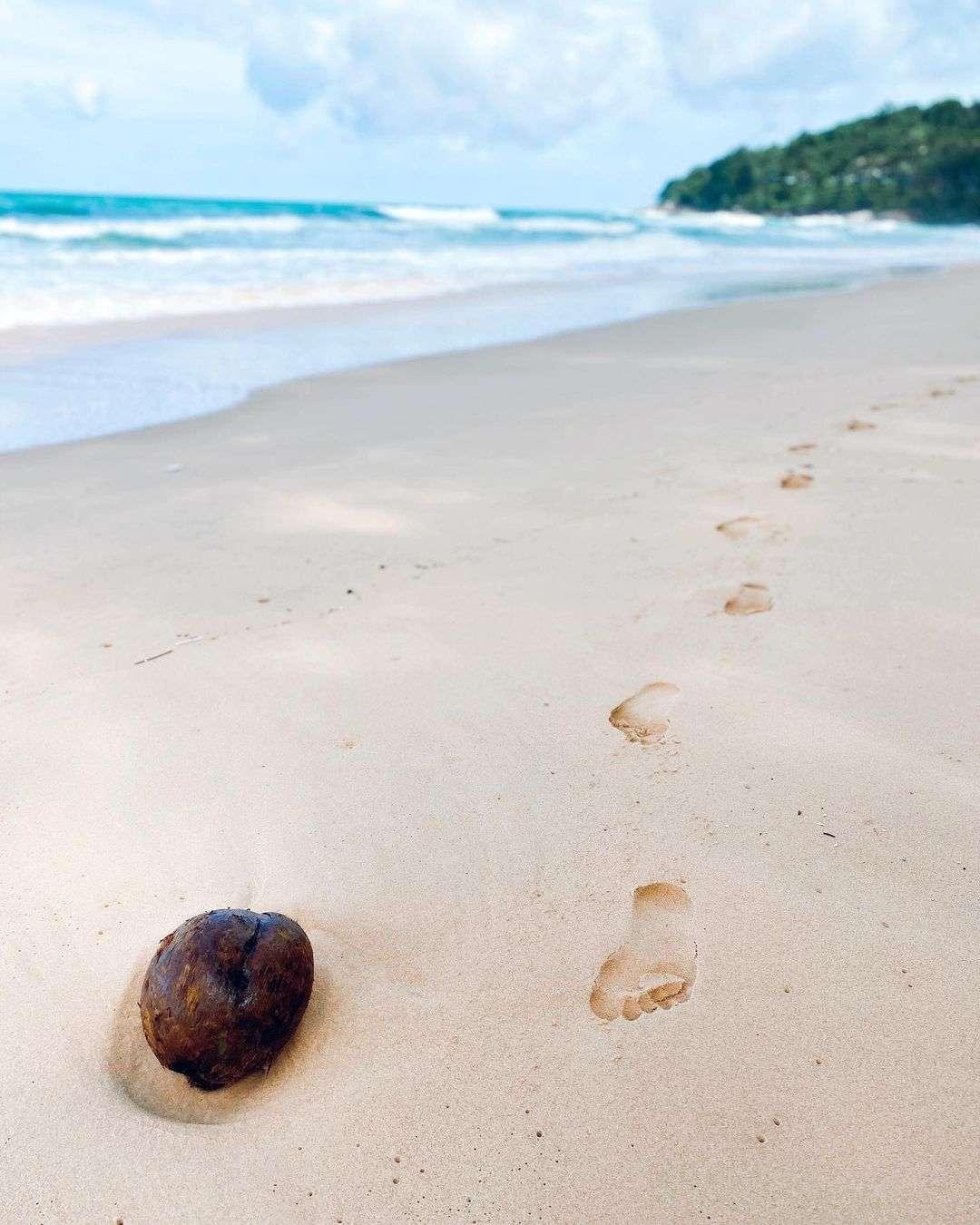 Kokosnoot met voetstappen in het zand van Nai Thon Beach op Phuket