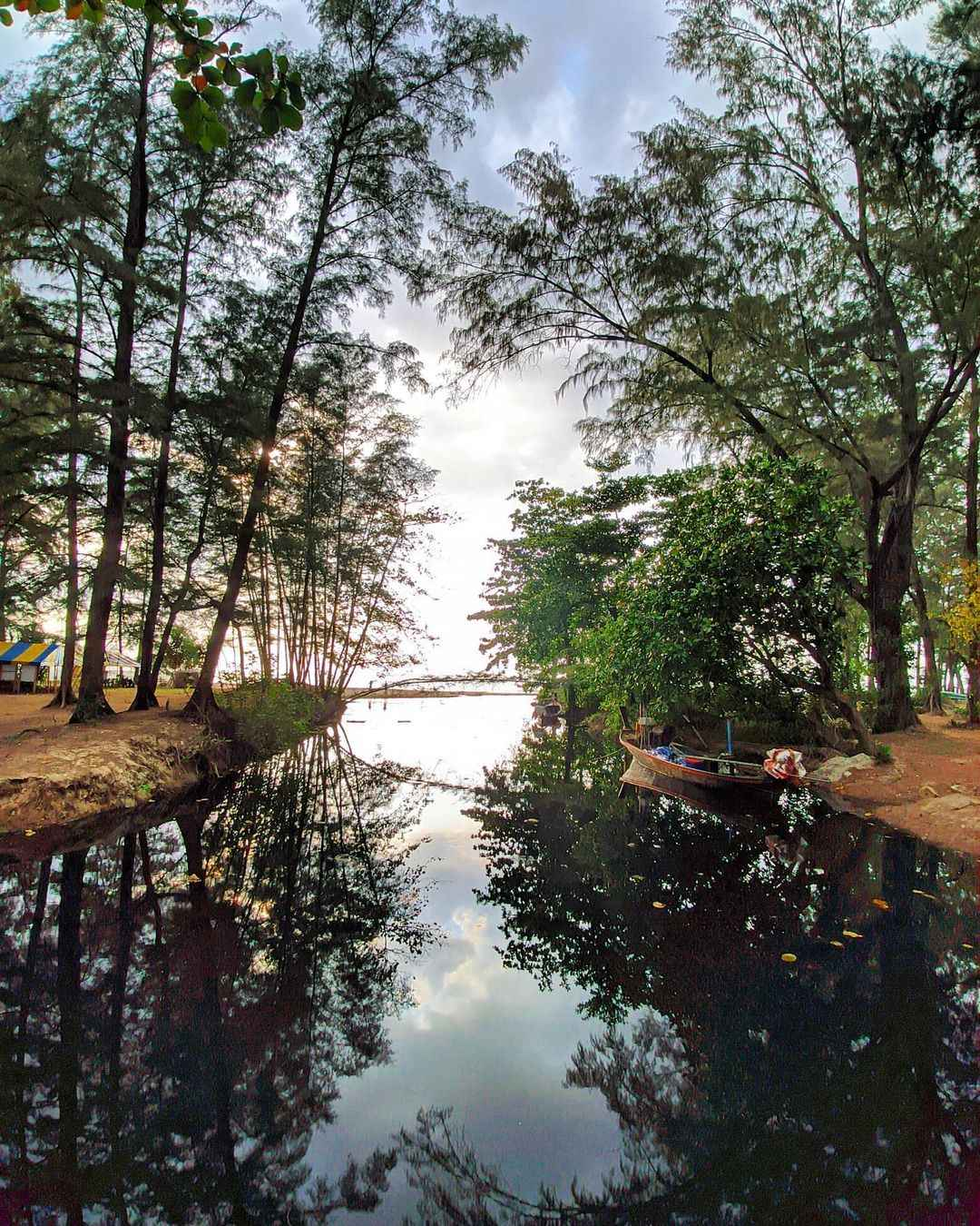 Zoetwaterstroom door het Sirinat National Park op Phuket