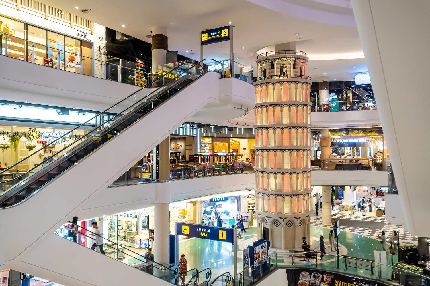 Tower of Pisa out in Italy at Terminal 21 Pattaya