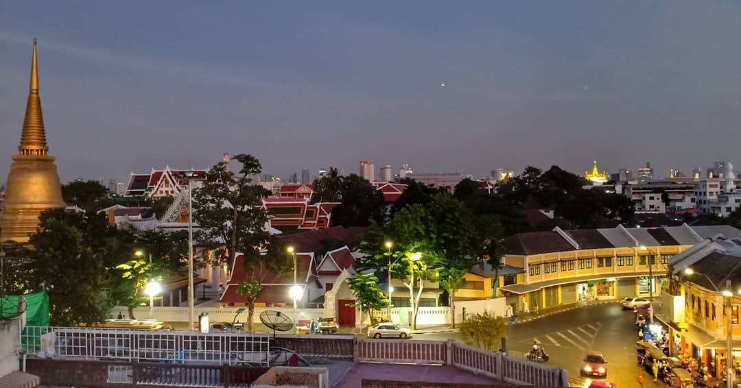 View over Bangkok Old Town from At-Mosphere Rooftop Cafe