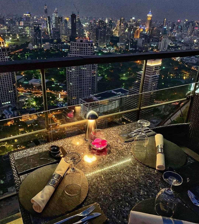 Table with a view at Vertigo Rooftop and Moon Bar in Bangkok