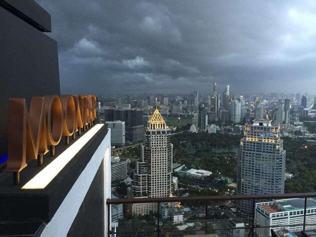 Storm over VERTIGO ROOFTOP AND MOON BAR in Bangkok
