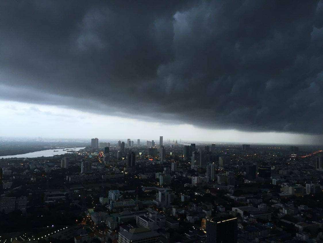 Heavy storm over Bangkok from Vertigo Rooftop and Moon Bar