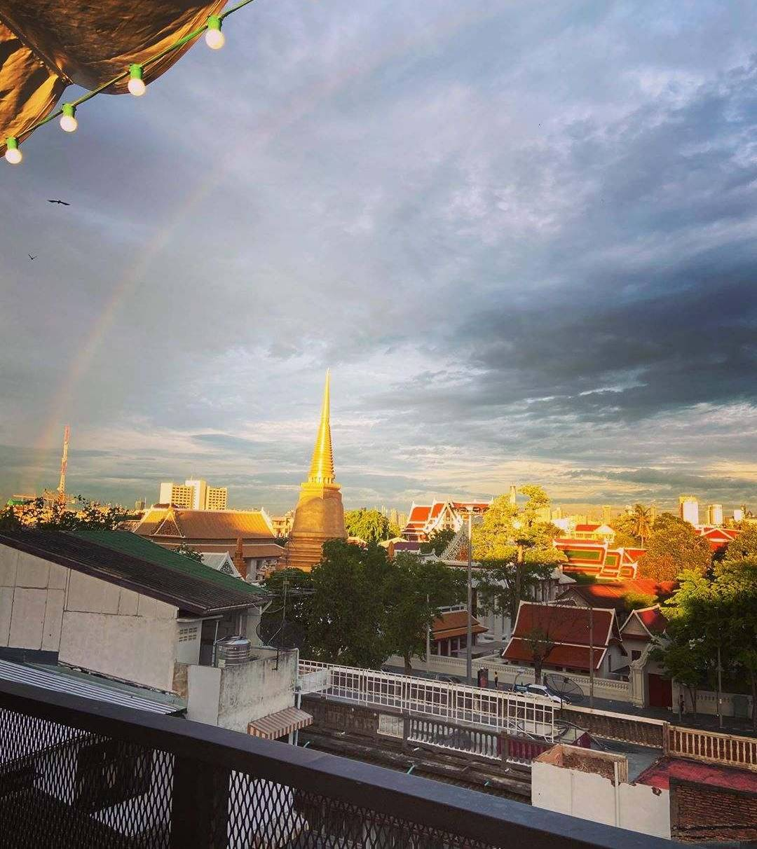 Rainbow over Bangkok seen from At-Mosphere Rooftop Cafe