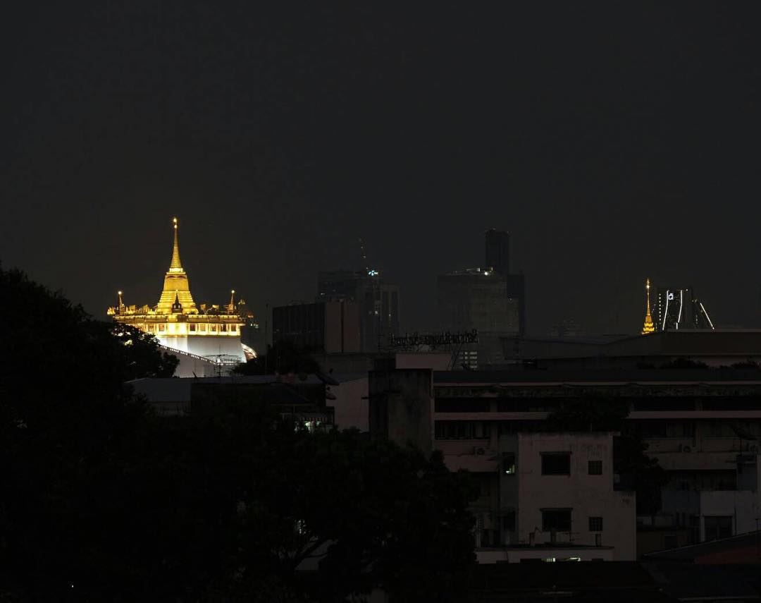 The illuminated Golden Mount as seen from At-Mosphere Rooftop Cafe