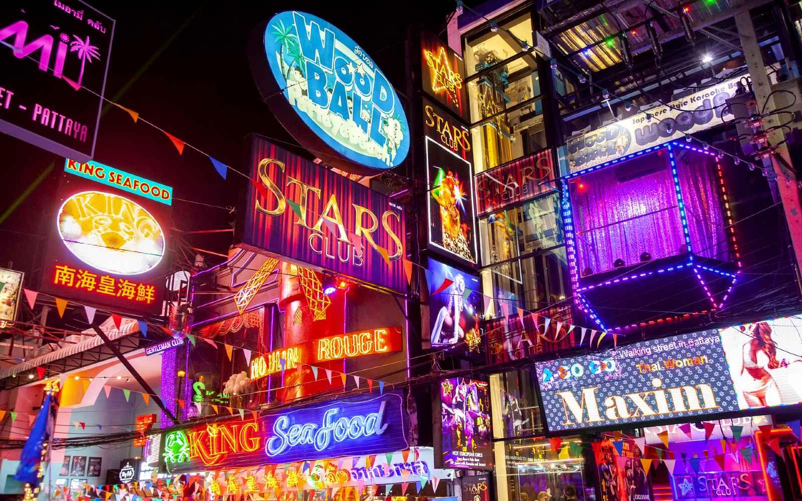 The Roof Bar neon lights in Walking street Pattaya