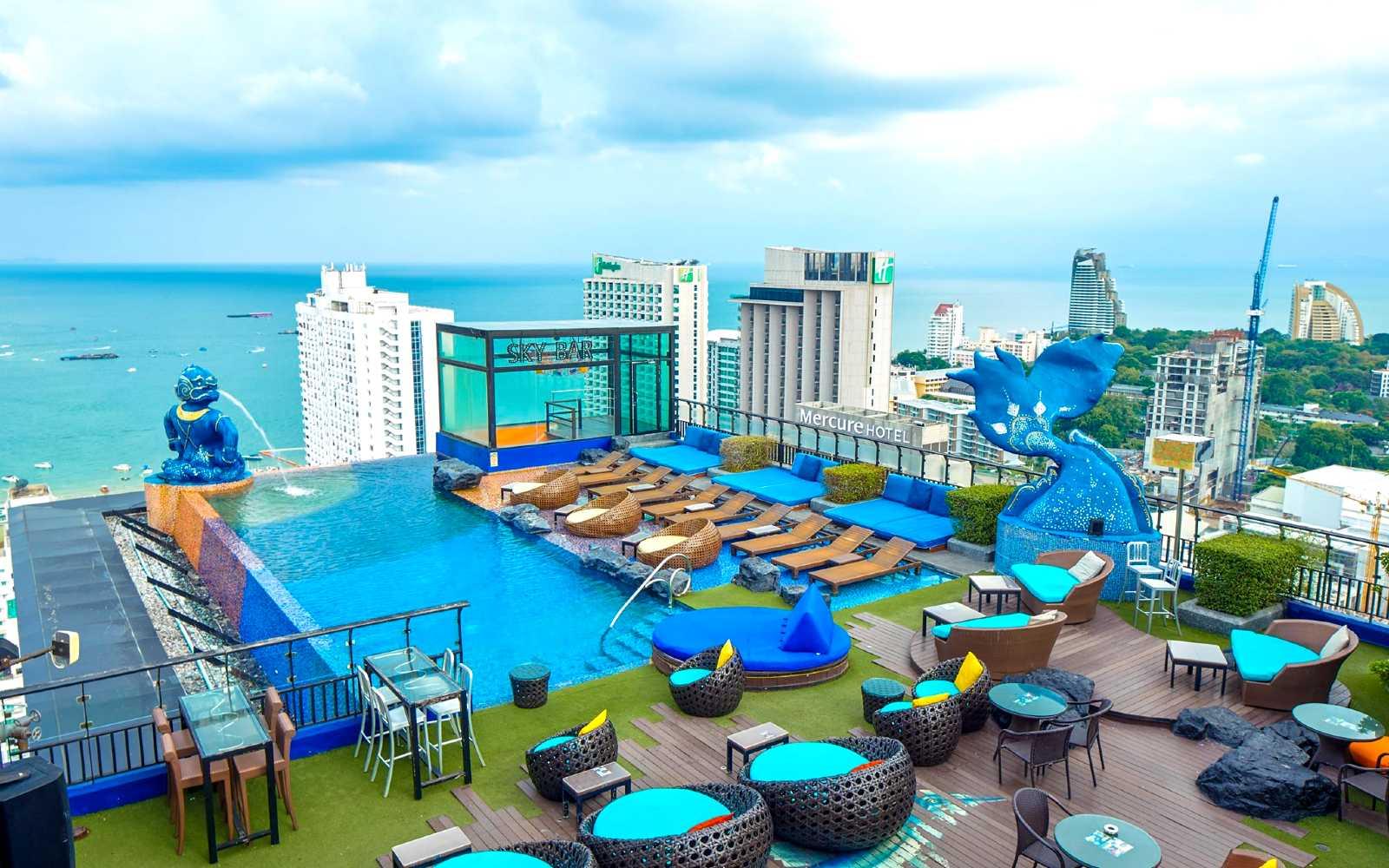 Sky Bar Siam@Siam Pattaya pool and rooftop bar with sea views