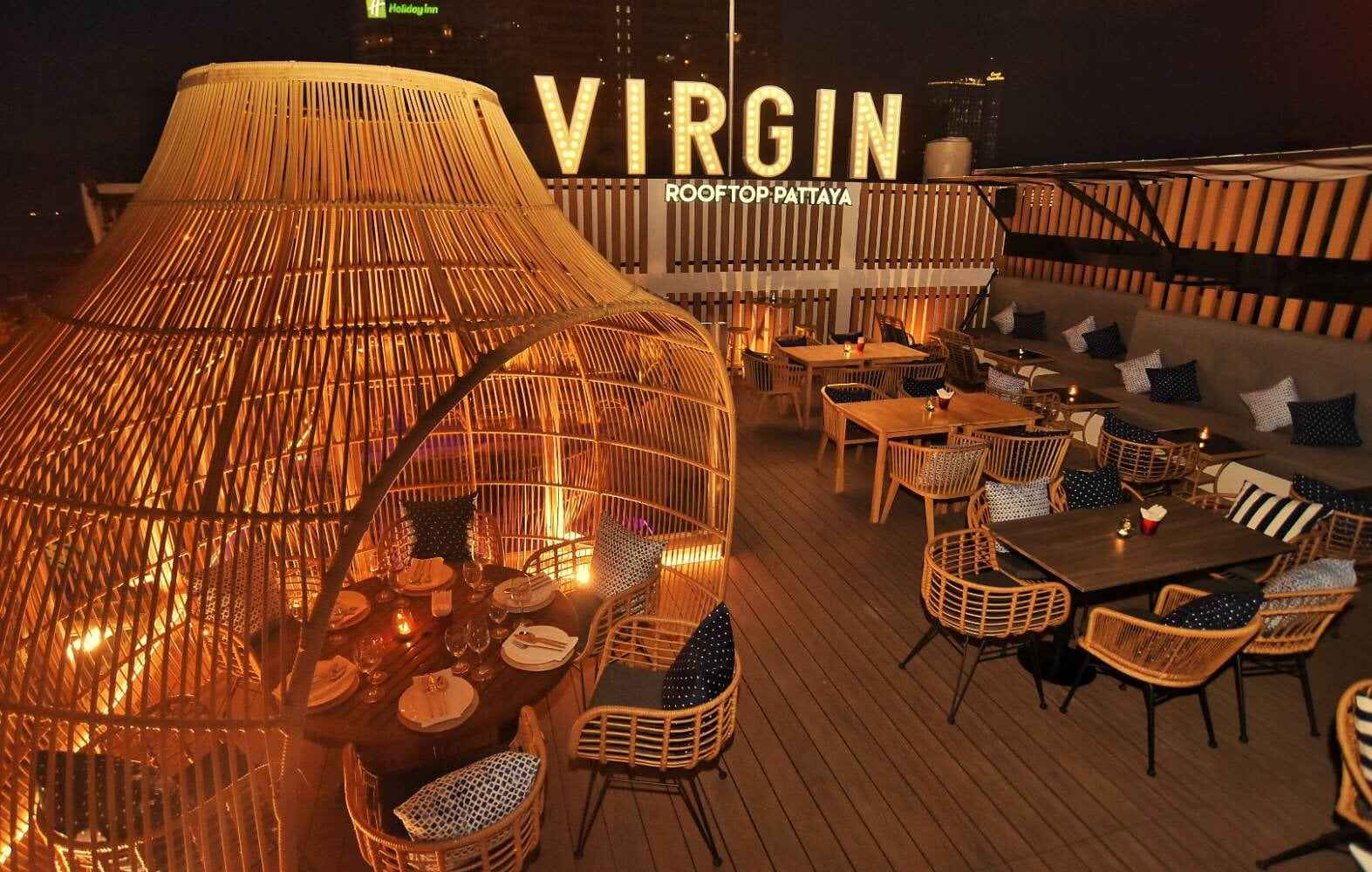 Virgin Logo and cozy seating