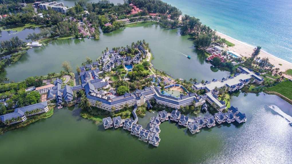 Angsana Laguna Phuket at Bang Tao Beach on Phuket seen with a drone