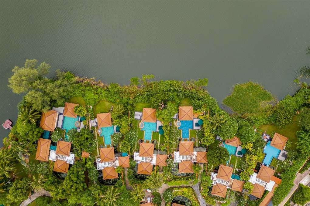 Spa Pool Villas of the Banyan Tree Phuket seen from the air near Bang Tao Beach